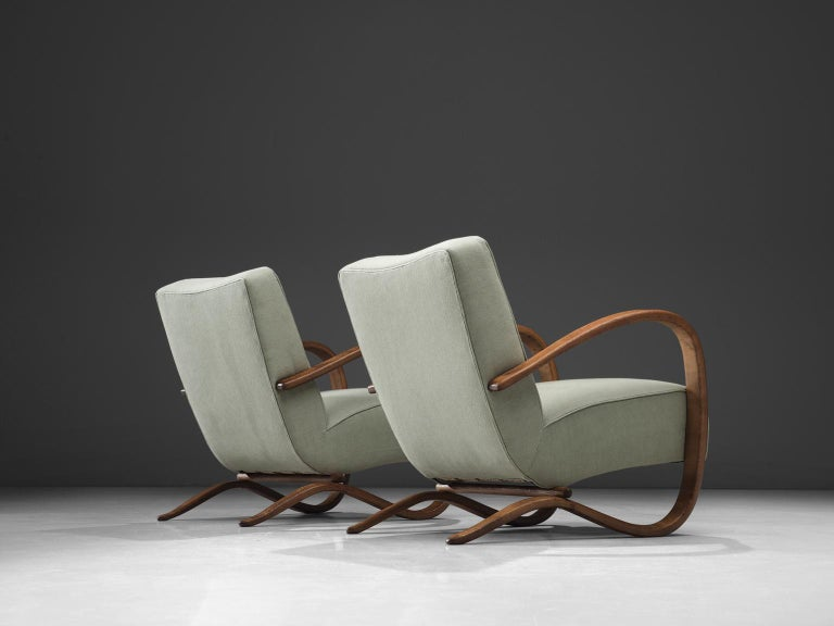 Mid-Century Modern Jindrich Halabala Fully Restored and Reupholstered Lounge Chairs For Sale