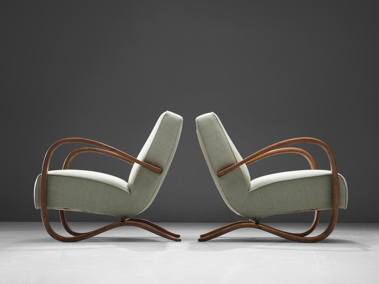 Czech Jindrich Halabala Fully Restored and Reupholstered Lounge Chairs For Sale