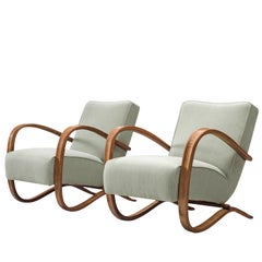 Jindrich Halabala Fully Restored and Reupholstered Lounge Chairs