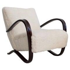 Jindrich Halabala Kreslo H269 White Sheepskin Bentwood Armchair