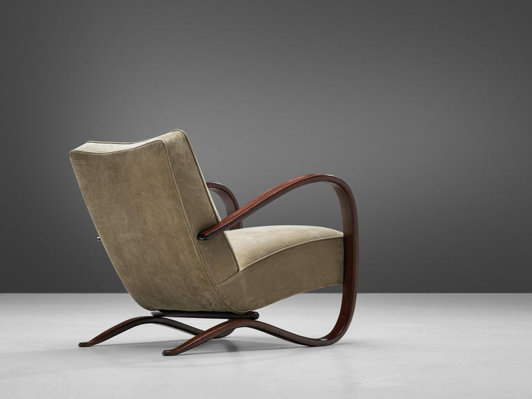 Mid-Century Modern Jindrich Halabala Lounge Chair Reupholstered in Soft Green Leather For Sale