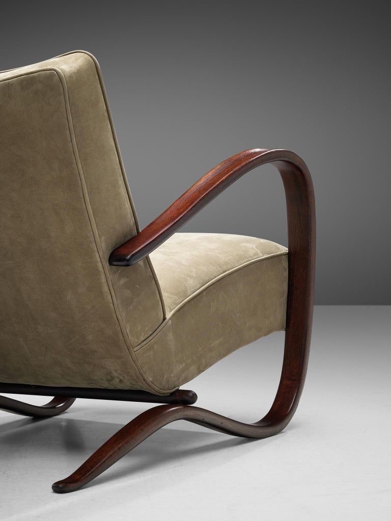 Mid-20th Century Jindrich Halabala Lounge Chair Reupholstered in Soft Green Leather For Sale