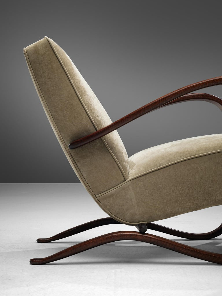 Jindrich Halabala Lounge Chair Reupholstered in Soft Green Leather For Sale 2