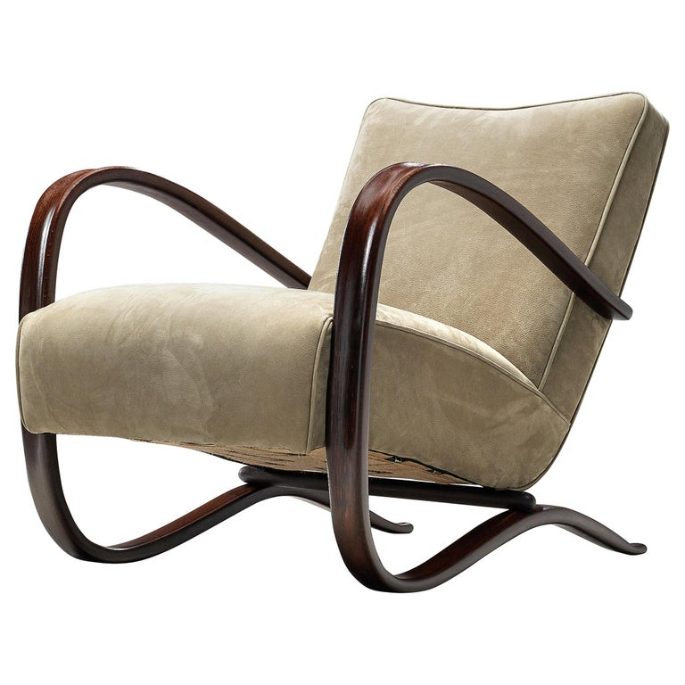 Jindrich Halabala Lounge Chair Reupholstered in Soft Green Leather For Sale