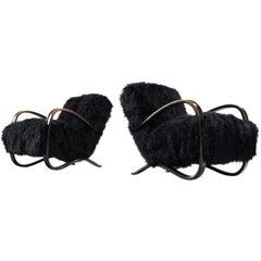 Jindrich Halabala Lounge Chairs in Black Tibetan Lambswool