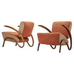 Jindrich Halabala Lounge Chairs Model 'H275' in Orange and Beige Upholstery