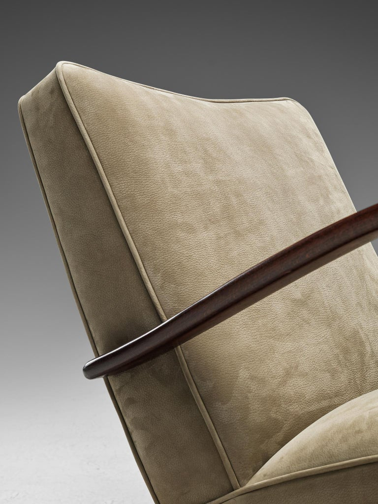 Jindrich Halabala Lounge Chairs Reupholstered in Soft Green Leather 4
