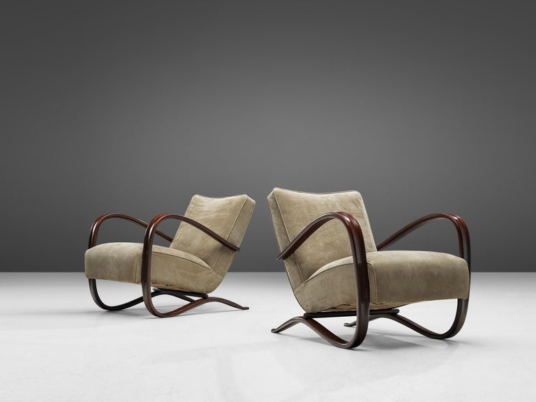 Mid-Century Modern Jindrich Halabala Lounge Chairs Reupholstered in Soft Green Leather