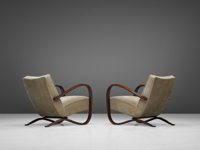 Czech Jindrich Halabala Lounge Chairs Reupholstered in Soft Green Leather