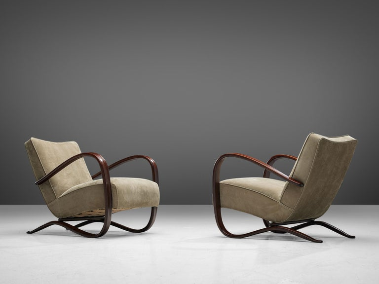 Jindrich Halabala Lounge Chairs Reupholstered in Soft Green Leather In Good Condition In Waalwijk, NL