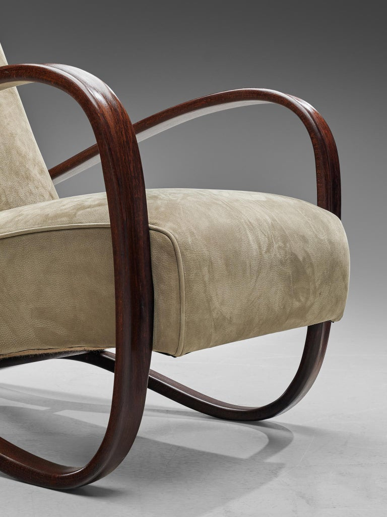 Mid-20th Century Jindrich Halabala Lounge Chairs Reupholstered in Soft Green Leather