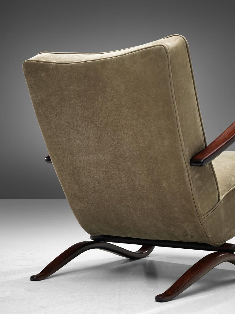 Jindrich Halabala Lounge Chairs Reupholstered in Soft Green Leather 2