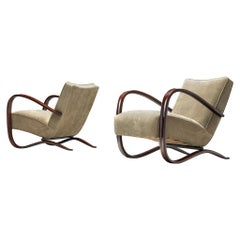 Jindrich Halabala Lounge Chairs Reupholstered in Soft Green Leather