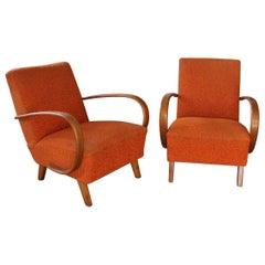 Jindrich Halabala Orange Chairs, 1930s