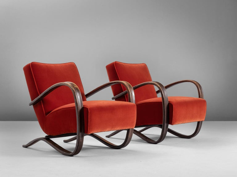 Jindrich Halabala, armchairs, beech and fabric, by Czech Republic, 1930s. 