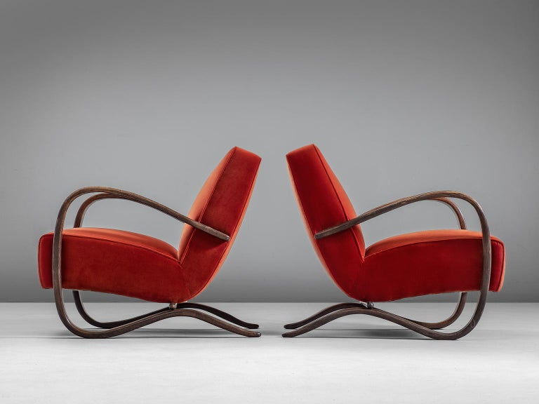 Mid-Century Modern Jindrich Halabala Pair of Reupholstered Easy Chairs For Sale