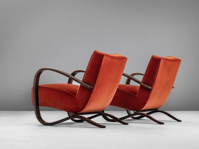 Czech Jindrich Halabala Pair of Reupholstered Easy Chairs For Sale
