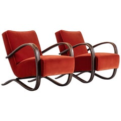 Jindrich Halabala Pair of Reupholstered Easy Chairs