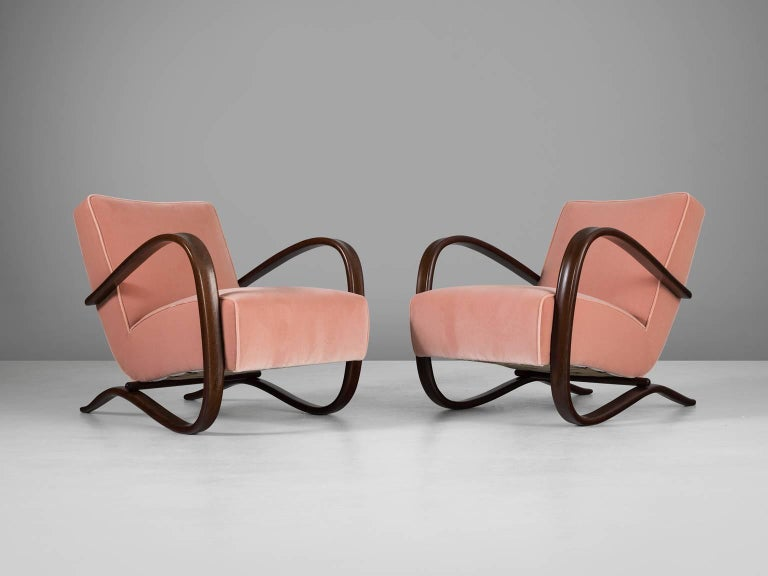 Art Deco Jindrich Halabala Reupholstered Armchairs in Pink Velvet For Sale
