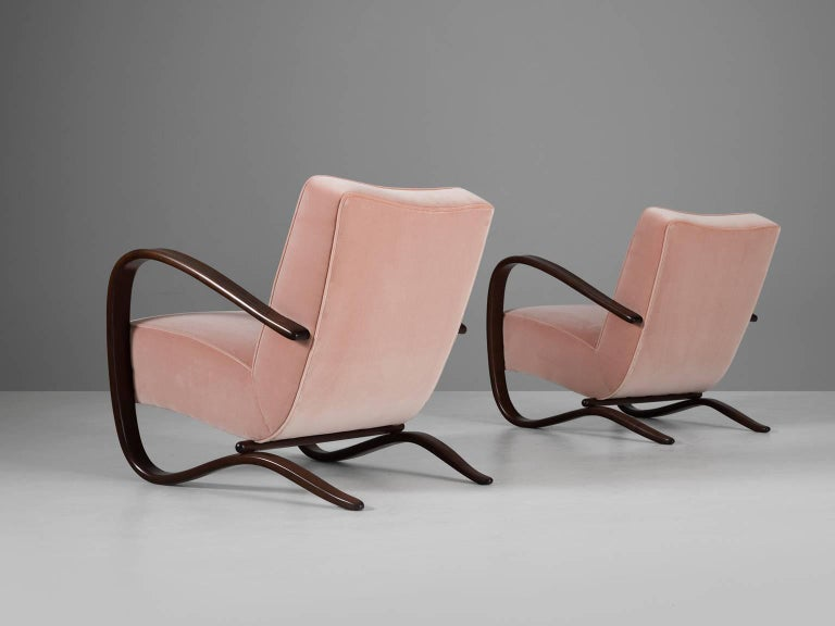 Czech Jindrich Halabala Reupholstered Armchairs in Pink Velvet For Sale