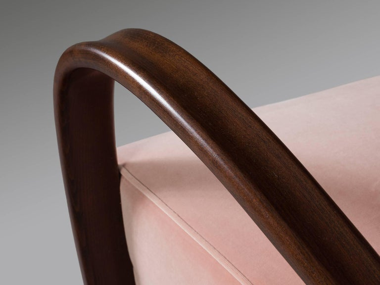 Mid-20th Century Jindrich Halabala Reupholstered Armchairs in Pink Velvet For Sale