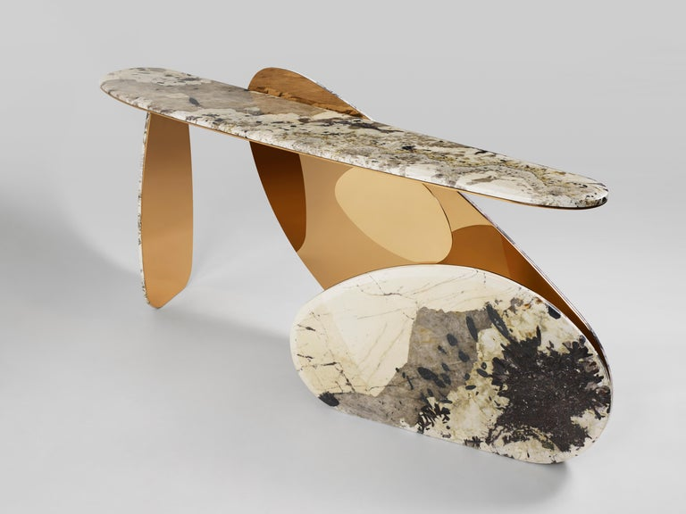 Asian 'JinYe' Console Featuring Patagonian Quartzite by Studio MVW For Sale