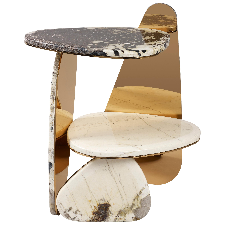 'Jinye' Side Table #3 Featuring Patagonian Quartzite by Studio MVW