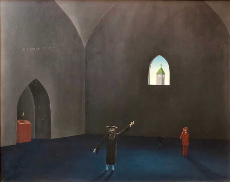 Czech Surrealism Judaica Oil Painting Rabbi, Menorah, Interior, Hollywood Artist - Black Interior Painting by Jiri Sehnal