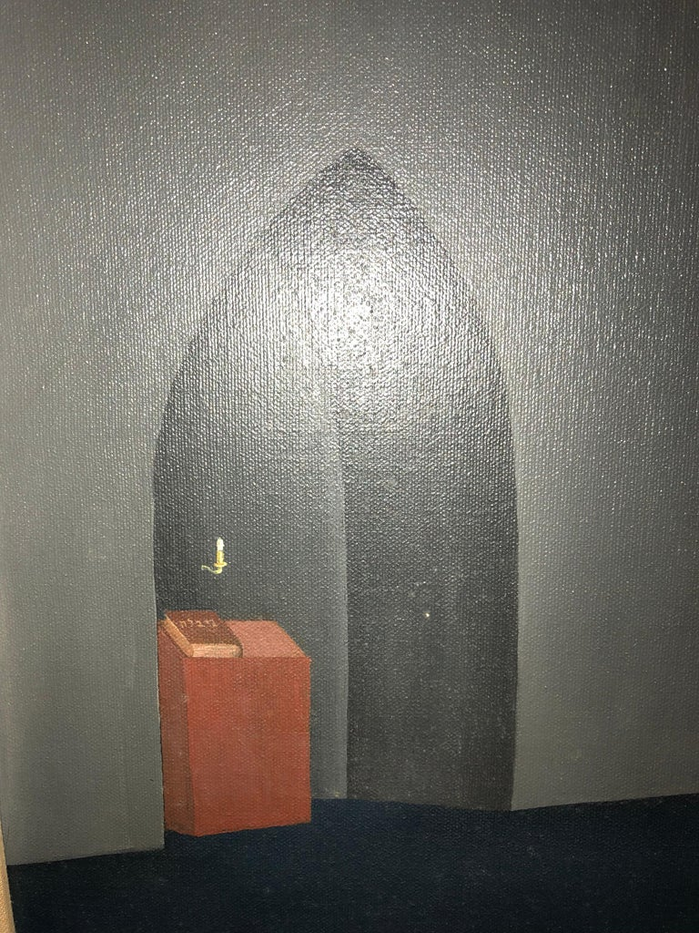 A painting in the Surrealist vein with Hebrew inscription.
