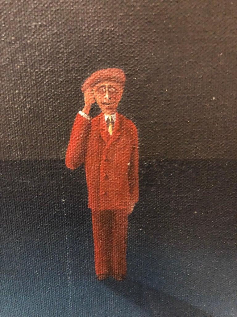Czech Surrealism Judaica Oil Painting Rabbi, Menorah, Interior, Hollywood Artist For Sale 2