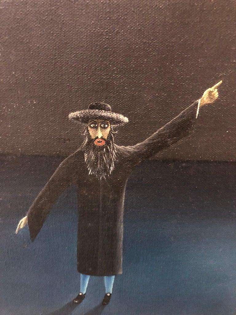 Czech Surrealism Judaica Oil Painting Rabbi, Menorah, Interior, Hollywood Artist For Sale 3