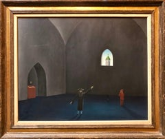 Czech Surrealism Judaica Oil Painting Rabbi, Menorah, Interior, Hollywood Artist