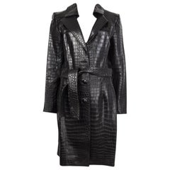 JITROIS black CROCODILE leather Belted Trench Coat