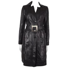 JITROIS black PYTHON SNAKESKIN Leather Trench Coat Sz. F 38 / S