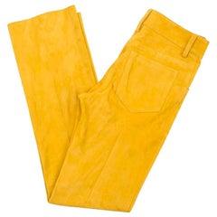 Jitrois Lamb Velvet Mustard Trousers - Size US 2