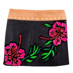 Jitrois Leather floral embroidered skirt Size 38 / US 6