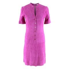 Jitrois Magenta Velour Button Down Mini DressS  38