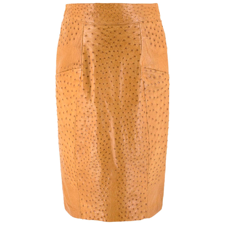 Jitrois Tan Ostrich Leather Skirt - Size US 8