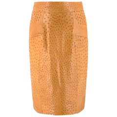 Jitrois Tan Ostrich Leather Skirt - Size US 8