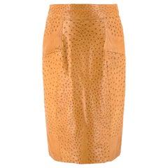 Jitrois Tan Ostrich Leather Skirt US 8