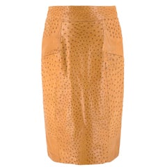 Jitrois Tan Ostrich Leather Skirt US 8