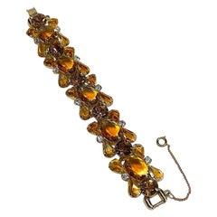 Jiuliana 1960s Amber Gold Stone Bracelet