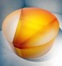"""Diatom Segmentation"", Cast, Carved, Cut, Optical Glass, Color Laminated, Yellow"