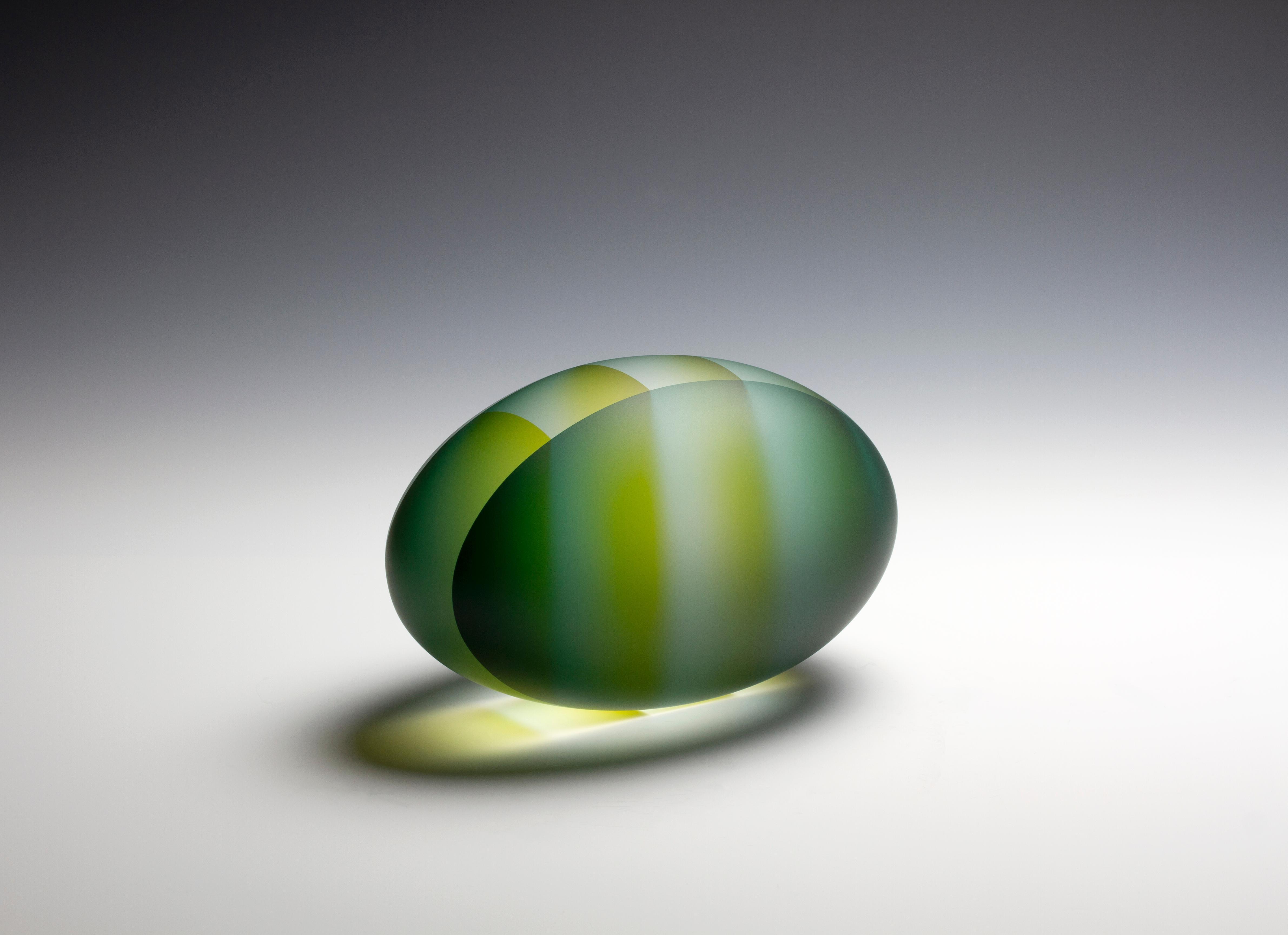 """Foreigner, Oval Segmentation"", Contemporary, Glass, Sculpture, Carved, Laminate"