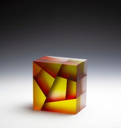 """""""Foreigner, Red and Yellow"""", Contemporary, Glass, Sculpture, Laminated, Carved"""
