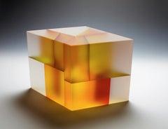 Isosceles Trapezohedron Segmentation, Contemporary Carved Glass Sculpture