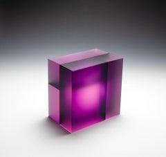 """Purple Pink Cuboid Segmentation"", Contemporary, Carved, Glass, Sculpture, Color"