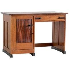 J.J. Buskes Art Deco Desk in Oak and Macassar Ebony, Netherlands, 1925