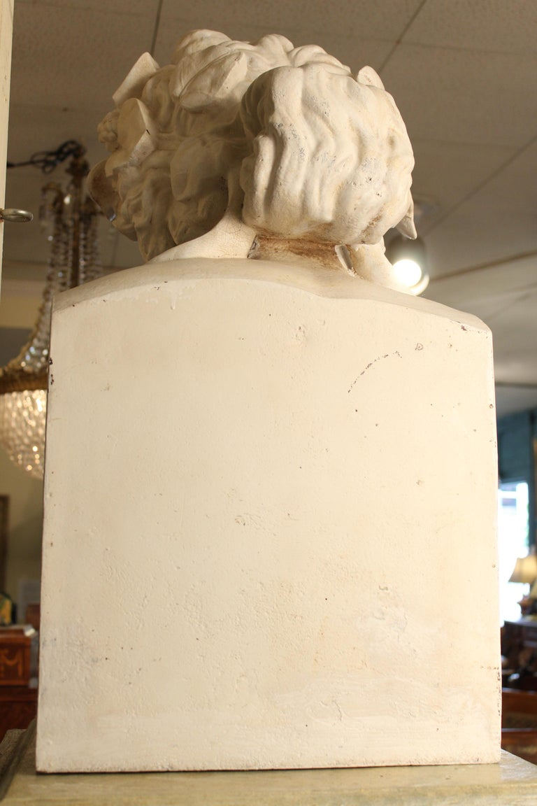 J.J. Ducel painted cast iron Bust and faux marble Pedestal For Sale 3