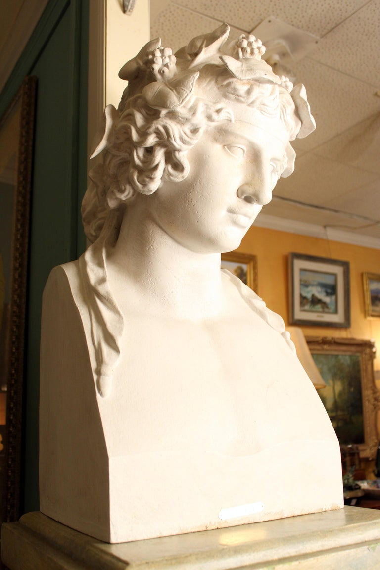 Classical Greek J.J. Ducel painted cast iron Bust and faux marble Pedestal For Sale